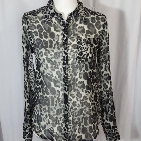 5009b15d4e74fb Guess Tops | Blouse Shirt Animal Print Womens Size Small | Poshmark